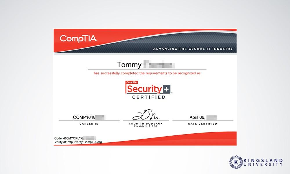 COMPTIA Security Certificate