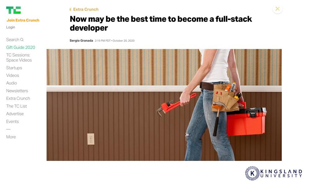 Full Stack Developer on TechCrunch